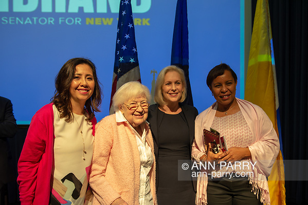 Hempstead NY, USA, Oct. 5, 2018. Sen. KIRSTEN GILLIBRAND poses with, L-R, MARIA TERESA ROMERO, ELSA FORD, and MILLIE MOTA, members of Brentwood Bay Shore Breast Cancer Coalition, at end of Town Hall at Hofstra University. (Ann Parry/Ann-Parry.com)