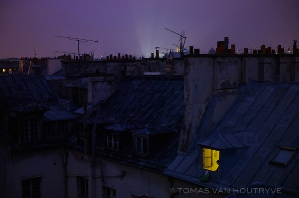 Rooftops are seen at twilight in the 6th arrondisement of Paris on 3 January 2010. (Tomas van Houtryve)