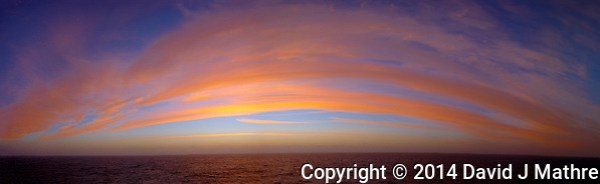 Colorful Clouds at Dawn over the South Atlantic Ocean from the Deck of the Hurtigruten MS Fram. Composite of 16 images taken with a Fuji X-T1 camera and 23 mm f/2 lens (ISO 200, 23 mm, f/8, 1/250 sec). Raw images processed with Capture One Pro and composite panorama created with AutoPano Giga Pro. (David J Mathre)