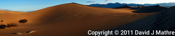 Early Morning Sand Dune Panorama. Composite of 4 images taken with a Nikon D3x and 45 mm f/2.8 PC-E lens (ISO 100, 45 mm, f/16, 1/60 sec). Images processed with Capture One Pro, Focus Magic, AutoPano Giga, NIK Color Efex Pro 2, and converted for web with Photoshop CS5. (David J Mathre)