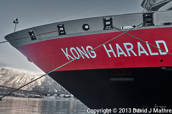 Hurtigruten line MS Kong Harald docked in Tromsø, Norway. Image taken with a Leica X2 camera (ISO 100, 24 mm, f/5.6, 1/25 sec). Raw image processed with Capture One Pro (including conversion to B&W and one color). (David J Mathre)