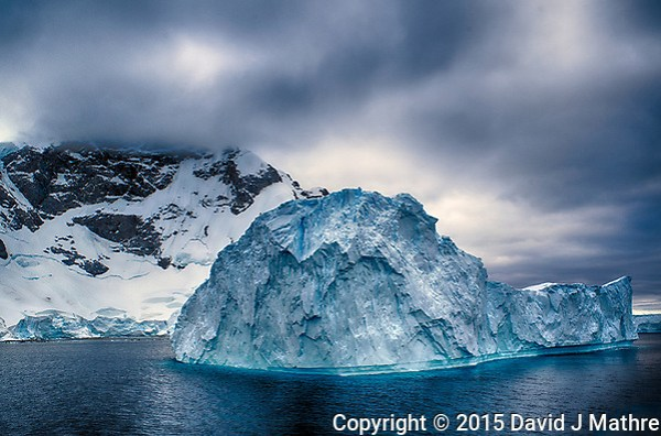 Iceburg in Antarctica from the Deck of the MS Fram. Composite of three images taken with a Leica T camera and 18-56 mm lens (ISO 200, 23 mm, f/11, various) Raw image processed with Lightroom, Nik HDR Efex 2, Capture One Pro and Photoshop CC. (David J Mathre)
