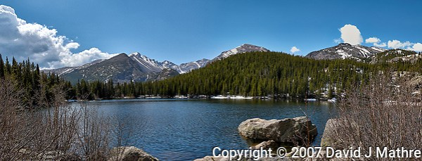 Lily Lake panorama. Rocky Mountain National Park. Composite of three images taken with a Nikon D2xs camera and 17-55 mm f/2.8 lens. (David J Mathre)