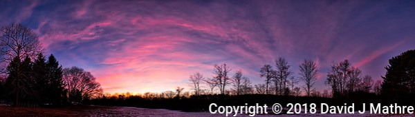 Dawn Morning Clouds. Winter Backyard Nature in New Jersey. Composite of 12 images taken with a Fuji X-T1 camera and 16 mm f/1.4 lens (ISO 200, 16 mm, f/2.8, 1/60 sec). Raw images processed with Capture One Pro and the composite generated with AutoPano Giga Pro. (David J Mathre)