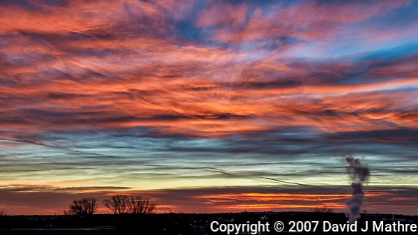 Colorful Dawn Clouds Over Boulder. Image taken with a Nikon D300 camera and 18-200 mm VR lens (ISO 450, 38 mm, f/8, 1/125 sec). (David J Mathre)