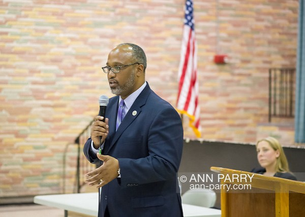 Levittown, NY, USA. June 4, 2018. Candidate Suffolk County Legislator DuWayne Gregory speaks during Congressional District 2 Democratic primary debate with Liuba Grechen Shirley held by Seaford Wantagh Democratic Club at Levittown Hall. (© 2018 Ann Parry/Ann-Parry.com)
