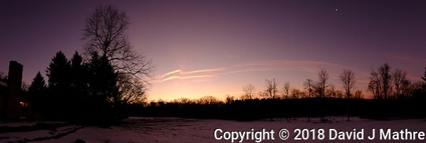 Colorful Contrails at Dawn. Backyard Winter Nature in New Jersey. In camera panorama (jpg) taken with a Fuji X-T1 camera and 16 mm f/1.4 lens (ISO 200, 16 mm, f/3.6, 1/125 sec). (David J Mathre)