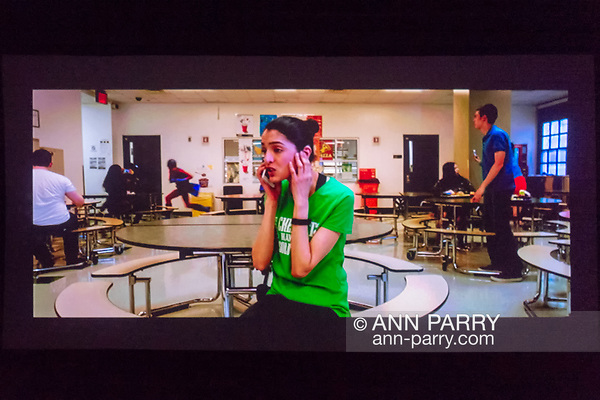 Bellmore, NY, USA. July 18, 2018. In The Adventures of Penny Patterson, the title character, played by actor AJNA JAI, calls Steve, her boyfriend and lab partner, who isn't helping with their science fair project. The comedy, sci-fi, screened at LIIFE 2018, the Long Island International Film Expo. (© Ann Parry/Ann-Parry.com)