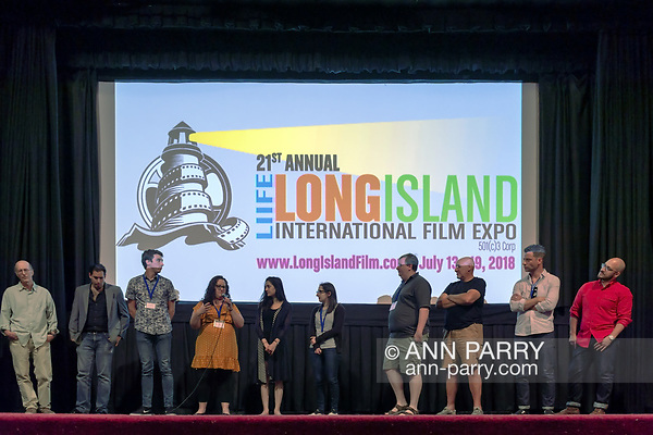 Bellmore, NY, USA. July 18, 2018. After final film screenings at LIIFE 2018, the Long Island International Film Expo, filmmakers and actors - including Shara Ashley Zeigler, Stephanie Donnelly, and Ajna Jai - go on stage for Q&A at the Bellmore Movies. (© 2018 Ann Parry/Ann-Parry.com)