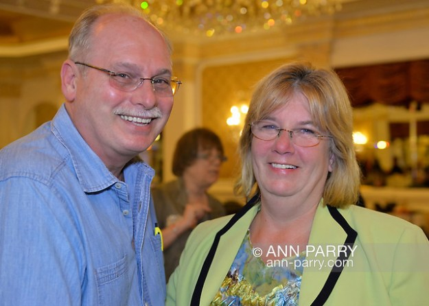 Garden City, New York, USA. Nov. 3, 2015. R-L, CLAUDIA BORECKY and husband MICHAEL BORECKY, from Merrick, attend Election Night Party of the Nassau County Democrats, at the Garden City Hotel. Borecky was the Democratic candidate for Nassau County Legislative District 19. (© 2015 Ann Parry/Ann-Parry.com)