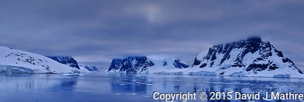 Northern Entrance to the Lemaire Channel in the Southwest Antarctic Peninsula. From the deck of the Hurtigruten MS Fram. In camera panorama taken with a Fuji X-T1 camera and Zeiss 32 mm f/2.8 lens (ISO 200, 32 mm, f/8, 1/180 sec). Jpg image processed with Capture One Pro 8 and Photoshop CC. (David J Mathre)