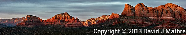 Sunset Panorama Sedona, Arizona. Composite of 11 images taken with a Nikon 1 V2 camera and 32 mm f/1.2 lens (ISO 200, 32 mm, f/5.6, 1/40 sec). Raw images processed with Capture One Pro. Panorama generated using AutoPano Giga Pro. (David J Mathre)