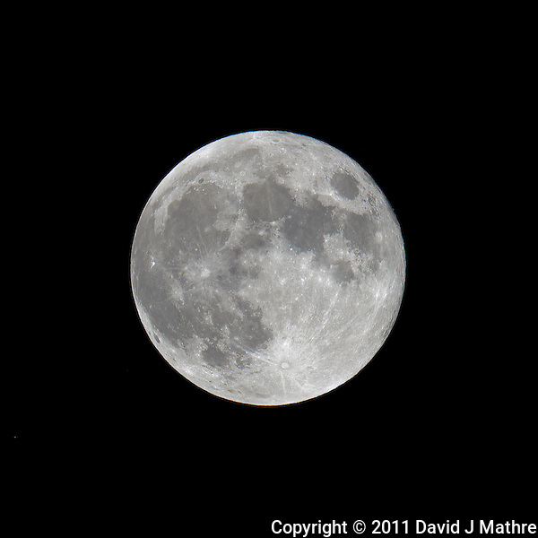 Late Spring Full Moon over New Jersey. Image taken with a Nikon D3x and 600 mm f/4 VR lens (ISO 100, 600 mm, f/5.6, 1/400 sec) on a Gitzo tripod and Wimberley Head. Raw image processed with Capture One Pro, Focus Magic, and Photoshop CS5 (David J Mathre)