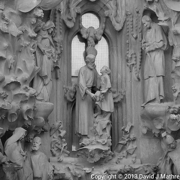 Detail in the Sagrada Familia Cathedral in Barcelona, Spain. Image taken with a Nikon 1 V2 camera and 10-100 mm VR lens (ISO 160, 100 mm, f/5.6, 1/100 sec). Converted to B&W with Capture One Pro 7. (David J Mathre)
