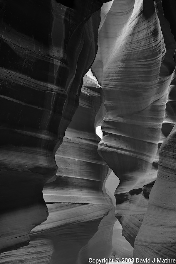 Upper Antelope Canyon, Page Arizona. Image taken with a Nikon D3 camera and 24-70 mm f/2.8 lens (ISO 200, 40. mm, f/16, 2.5 sec). Image processed with Capture One Pro. Converted to B&W with NIK Silver Efex Pro 2 (David J Mathre)