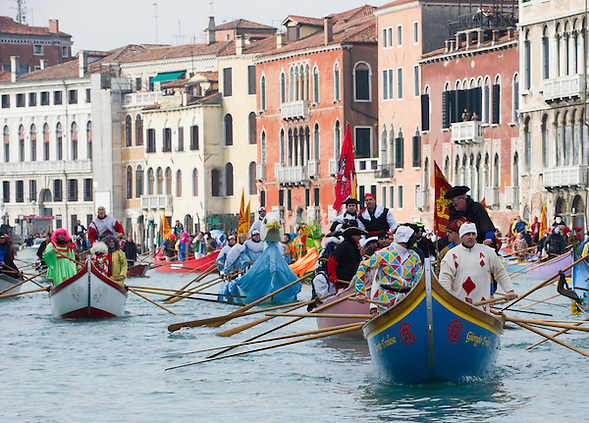 Today saw the second day of the Venetian Carnival, which runs till February 12th. A water procession took place on the Grand Canal (Marco Secchi)