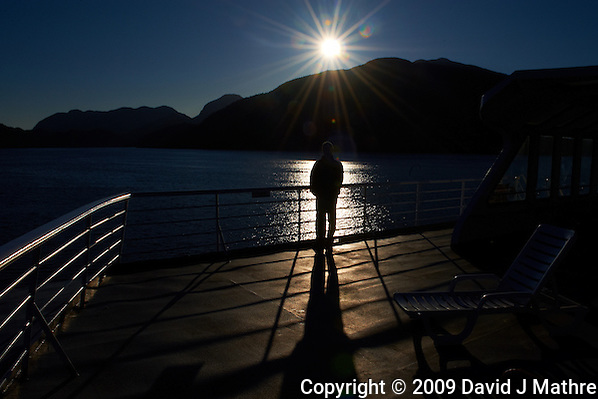 Silhouette, Shadow, and Sunburst on the M/V Columbia Alaska Marine Highway Between Bellingham, Washington and Haines, Alaska -- Queen Charlotte Sound, British Columbia - Canada. Image taken with a Nikon D3 and 24-70 mm f/2.8 lens (ISO 200, 24 mm, f/22, 1/1000 sec). (David J Mathre)