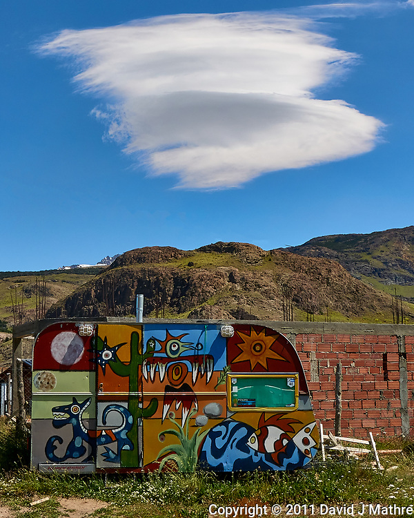 Colorful Caravan under Lenticular Clouds in El Chalten, Argentina. Image taken with a Leica D-Lux 5 camera (ISO 80, 8 mm, f/8, 1/400 sec). (David J Mathre)