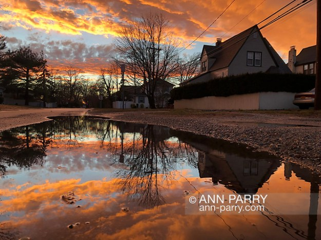 Merrick, New York, USA. January 24, 2019. After flash flood, reflection of colorful winter sunset fills large puddle in road of suburban town on south shore of Long Island. (© 2019 Ann Parry/Ann-Parry.com)