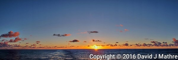 Sunrise from the deck of the MV World Odyssey while traveling across the Pacific Ocean. In camera panorama taken with a Fuji X-T1 camera and 23 mm f/1.4 lens (ISO 200, 23 mm, f/8, 1/250 sec). Images processed with Capture One Pro. (David J Mathre)