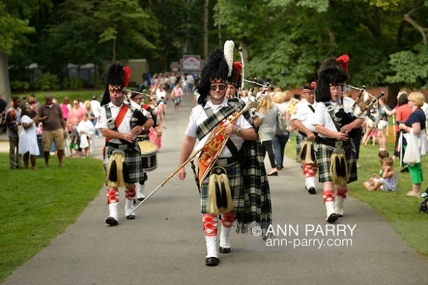 Old Westbury, N.Y., U.S. - August 23, 2014 - Clan Gordon Highlanders Pipe Band of Locust Valley, marches at Long Island Scottish Festival & Highland Games, Old Westbury Gardens. (© 2014 Ann Parry/Ann-Parry.com)