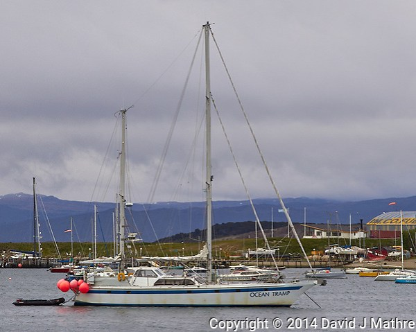 Ocean Tramp anchored in the harbor in Ushuaia, Argentina. Image taken with a Leica T camera and 18-56 mm lens. (David J Mathre)
