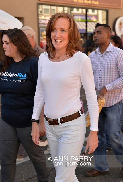 """Bellmore, New York, U.S. 22nd September 2013. Nassau County District Attorney KATHLEEN RICE (Democrat), running for re-election in November to a third term in office, makes a campaign stop to the 27th Annual Bellmore Family Street Festival. (© 2013 Ann Parry/AnnParry.com)"