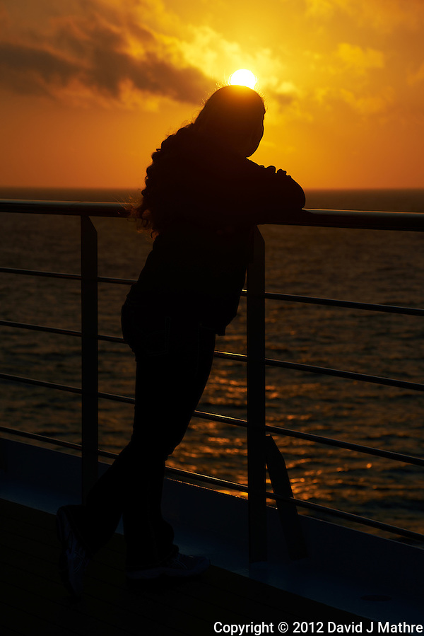 Sunset at Sea on the M/V Explorer. Fall 2012 Semester at Sea Voyage. Image taken with a Nikon D800 and 70-300 mm VR lens (ISO 100, 122 mm, f/11, 1/200 sec). (David J Mathre)
