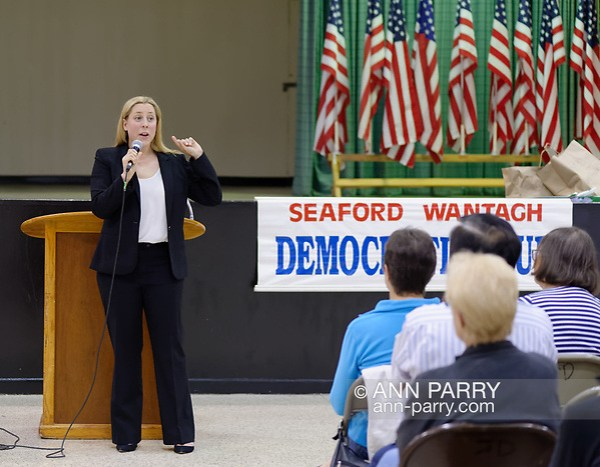 Levittown, NY, USA. June 4, 2018. Candidate Liuba Grechen Shirley speaks during Congressional District 2 Democratic primary debate with Suffolk County Legislator DuWayne Gregory held by Seaford Wantagh Democratic Club at Levittown Hall. (© 2018 Ann Parry/Ann-Parry.com)