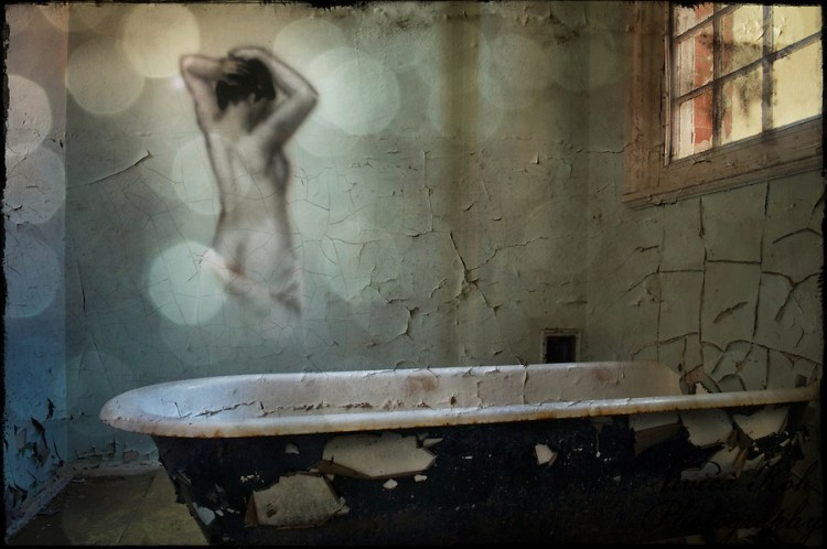 Painting by REQ of bath woman on the wall at Hellingly Asylum (Viveca Koh)