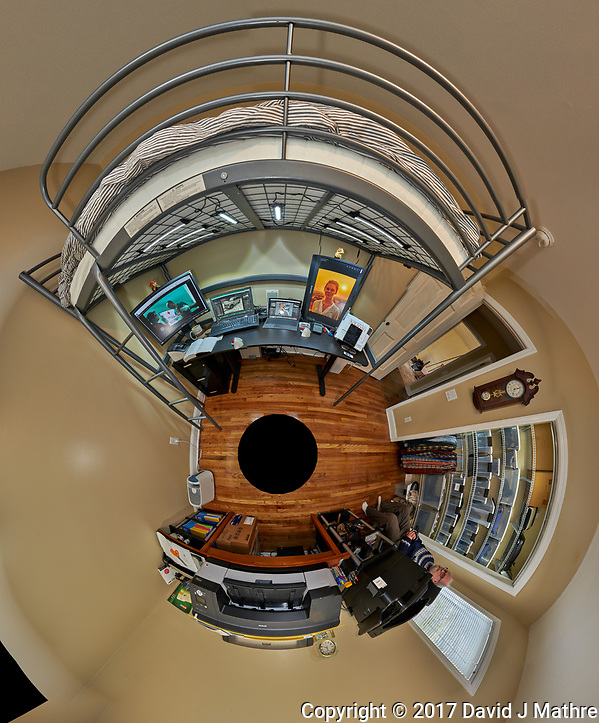 Little Planet view of my third bedroom after renovation. Prior to this the room was only used for storage. The Little Planet view was created using 70 images taken in 5 degree intervals using a Fuji X-T1 camera and 16 mm f/1.4 lens (ISO 800, 16 mm, f/11, 1/15 sec). The raw images were processed with Capture One Pro, and AutoPano Giga Pro. (David J Mathre)