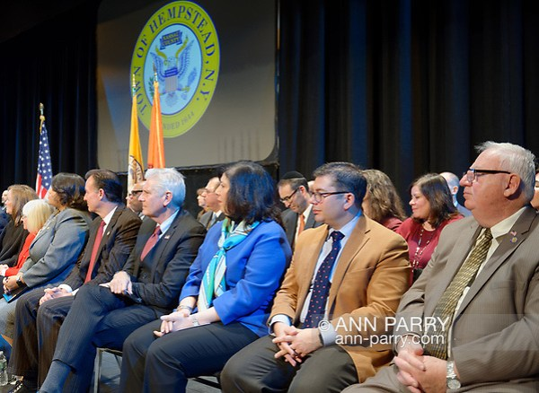 Hempstead, New York, USA. Jan.1, 2018. R-L, NYS Senator JOHN E. BROOKS, Nassau County Comptroller JACK SCHNIRMAN, N.C. District Attorney MADELINE SINGAS, and Hempstead Town Councilman BRUCE BLAKEMAN are among dignitaries on stage at Swearing-In of Laura Gillen as Hempstead Town Supervisor, and Sylvia Cabana as Hempstead Town Clerk at Hofstra University. (© 2018 Ann Parry/Ann-Parry.com)