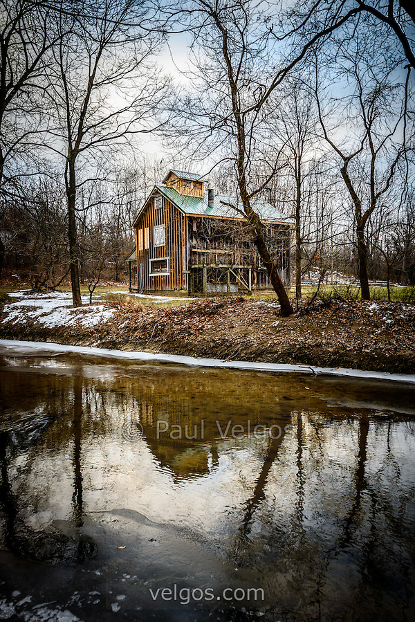 Photo of the Sugar Shack in Deep River County Park in Hobart Indiana. In the Sugar Shack, tree sap is turned into syrup using a wood burining evaporator. (Paul Velgos)