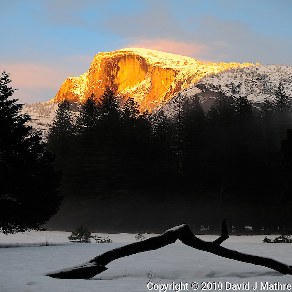 Half Dome at Sunset from Curry Village in Yosemite National Park. Image taken with a Nikon D3x and 50 mm f/1.4G lens (ISO 100, f/4, 1/250 sec) (David J Mathre)