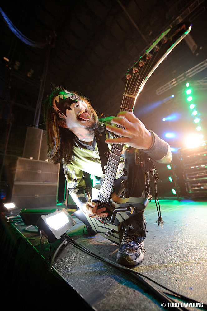 Five Finger Death Punch performing at the Family Arena in St. Charles, MO on October 31, 2011. (Todd Owyoung)