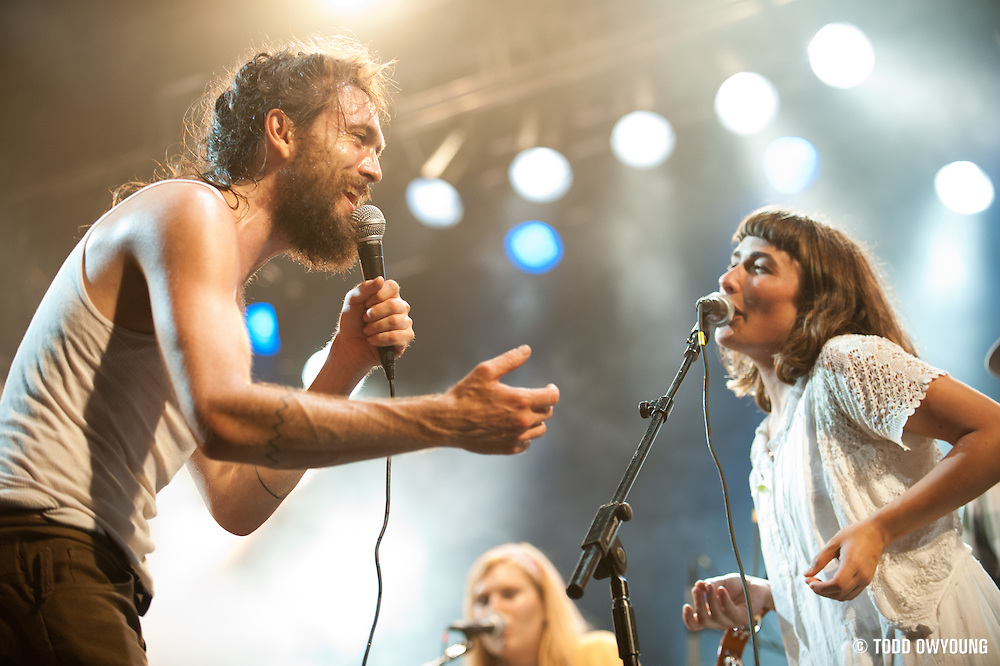 Alex Ebert and Jade Castrinos of Edward Sharpe and the Magnetic Zeros performing on August 6, 2011 at the Escape to New York Festival in South Hampton, NY. © Todd Owyoung. (Todd Owyoung)