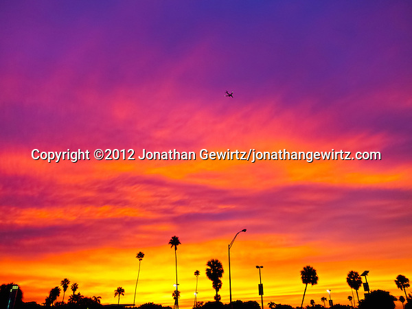 A brilliantly colorful sunset sky provides the backdrop as an aircraft passes high over palm trees and light posts at Hobie Beach in Miami, Florida. (© 2012 Jonathan Gewirtz / jonathan@gewirtz.net)