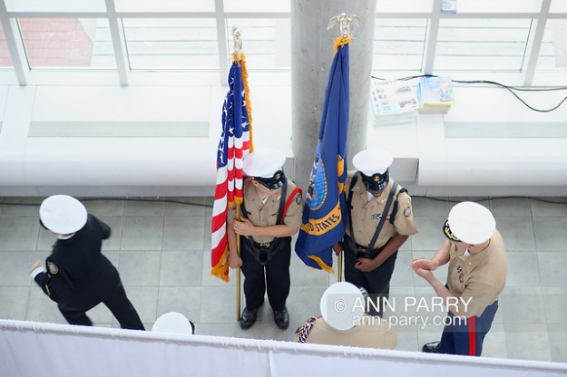 Garden City, New York, USA. June 6, 2019. Members of Freeport High School Navy Junior ROTC prepare to make entrance during Apollo at 50 Anniversary Dinner, an Apollo astronaut tribute celebrating the Apollo 11 mission Moon landing. (© 2019 Ann Parry/Ann Parry, ann-parry.com)