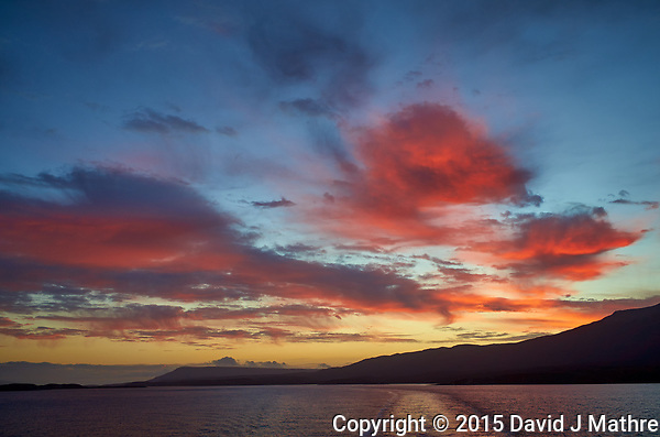 Final Dawn Clouds, Beagle Channel on the way to Ushuaia from the Upper Deck of the MS Fram. Image taken with a Leica T camera and 23 mm lens (ISO 100, 23 mm, f/4, 1/125 sec). Raw image processed with Capture One Pro, Nik Define, and Photoshop CC. (David J Mathre)