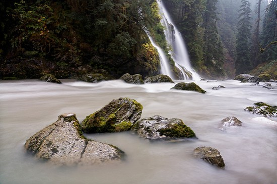 Un-named creek falls over Feature Show Falls and into Boulder River, Boulder River Wilderness, Central Cascades, Washington, USA (Brad Mitchell Photography)