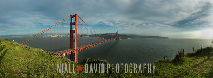 View of the Golden Gate Bridge, the San Francisco Bay and the City of San Francisco from Battery Spencer in the Marin Headlands of California. 5 image panorama. (Niall David)