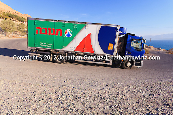 A Tnuva truck delivering dairy products near the Dead Seai. (© 2012 Jonathan Gewirtz / jonathan@gewirtz.net)