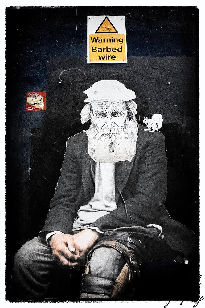 Street art (paste-up) by unknown artist, Shoreditch, East London (Viveca Koh)