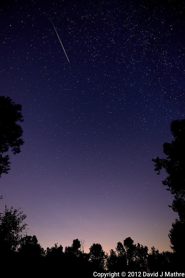 Perseid Meteor Trail. Summer Night Sky in New Jersey. Image taken with a Nikon D800 and 14-24 mm f/2.8 lens (ISO 400, 14 mm, f/2.8, 30 sec). (David J Mathre)