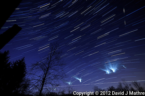 NASA ATREX Jet Stream Study Lights up The Night Sky. Composite of 40 images taken with a Nikon D3x and 14-24 mm f/2.8 lens (ISO 100, 14 mm, f/2.8, 59 sec) processed using DxO Pro, and Startrails. (David J Mathre)