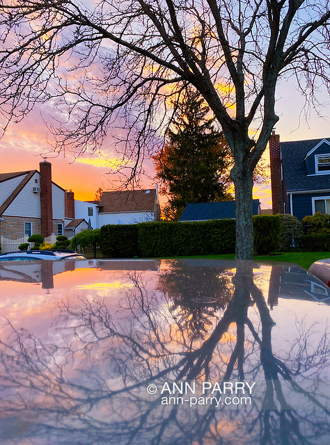 """Garden City Park, New York, U.S. May 2, 2020. Dusk falls on suburban street in Long Island. (© 2020 Ann Parry/Ann-Parry.com)"