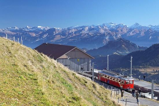 Red cog rail train car on summit of Mount Rigi, Switzerland, Europe (Brad Mitchell)