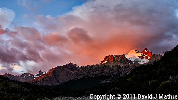 Patagonia Dawn Panorama from Hosteria El Pilar in El Chalten, Argentina. Composite of 5 image taken with a Nikon D3s and 50 mm f/1.4G lens (ISO 400, 50 mm, f/4) using AutoPano Giga Pro. (David J Mathre)