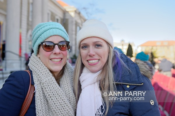 Mineola, NY, USA. January 1, 2018. L-R, LIUBA GRECHEN SHIRLEY, Congressional candidate for District 2 on Long Island, and SUE MOLLER, 2017 candidate for Hempstead Town Council District 6, pose for photo outside Theodore Roosevelt Executive & Legislative Building, after swearing-In  of LAURA CURRAN as Nassau County Executive. (© 2018 Ann Parry/Ann-Parry.com)