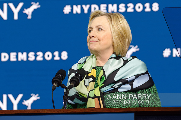 Hempstead, NY, USA. May 23, 2018. HILLARY CLINTON delivers Keynote Address during Day 1 of New York State Democratic Convention at Hofstra University. (© 2018 Ann Parry/Ann-Parry.com)